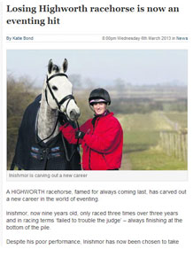 Losing Highworth racehorse is now an eventing hit