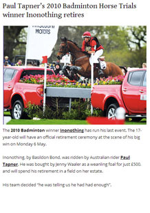Paul Tapner's 2010 Badminton winner Inonothing retires