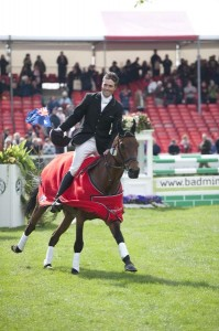 Paul and Mannie celebrate after winning the Badminton Horse Trials in 2010